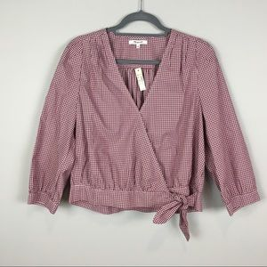 Madewell gingham wrap top burgundy